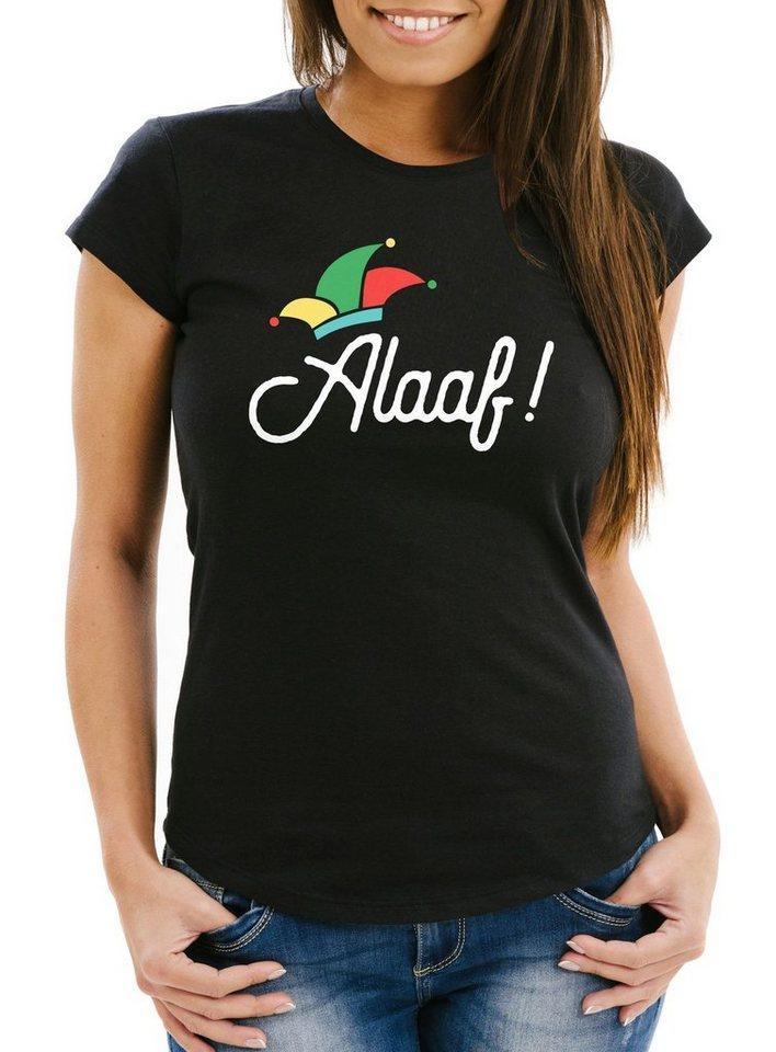 MoonWorks Print-Shirt »Damen T-Shirt Alaaf Helau Ahoi Karneval Fasching Fasnacht Narrenruf Jeck Narr Fun-Shirt Moonworks®« mit Print, schwarz