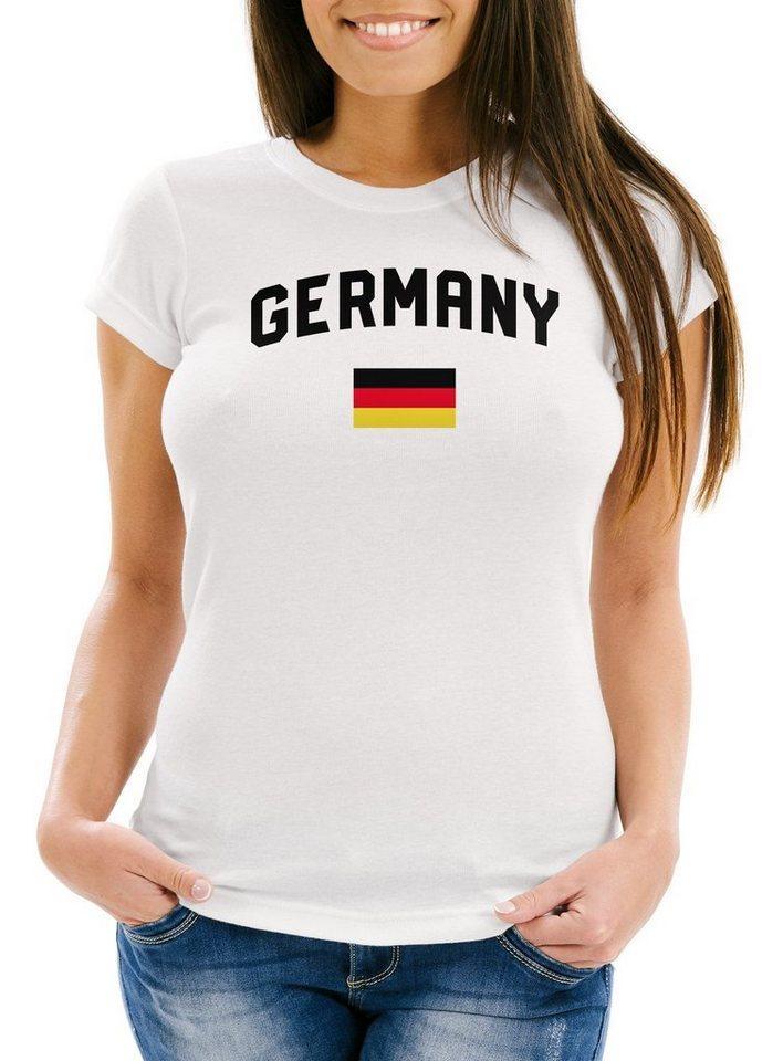 MoonWorks Print-Shirt »Moonworks® Damen Deutschland Fan-Shirt T-Shirt Fußball WM EM Fan-Trikot Weltmeisterschaft Europameisterschaft« mit Print, weiß