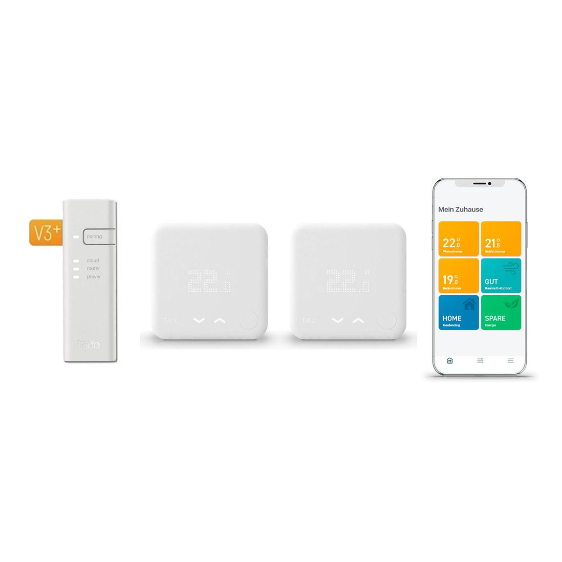 tado° Smartes Thermostat Starter Kit V3+ mit 2 Raumthermostaten & Bridge
