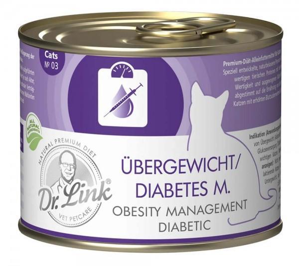 Dr. Link Katzenfutter Spezial-Diät Übergewicht-Diabetes Geflügel & Rind - 200 g