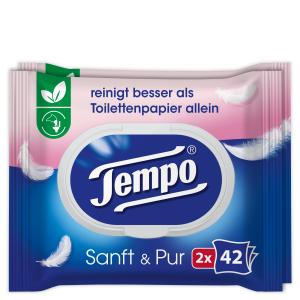 Tempo sanft & pur feuchte Toilettentücher, Feuchttücher mit der parfümfreien, ultrasanften Formulierung, 1 Doppel-Packung = 2 x 42 Tücher, mit Verschluss