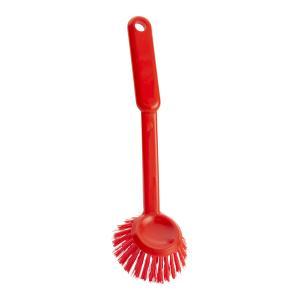 Haug Spülbürste, rund, Geschirrbürste mit Polyester PBT Besatzmaterial, Komplettfarbe: rot