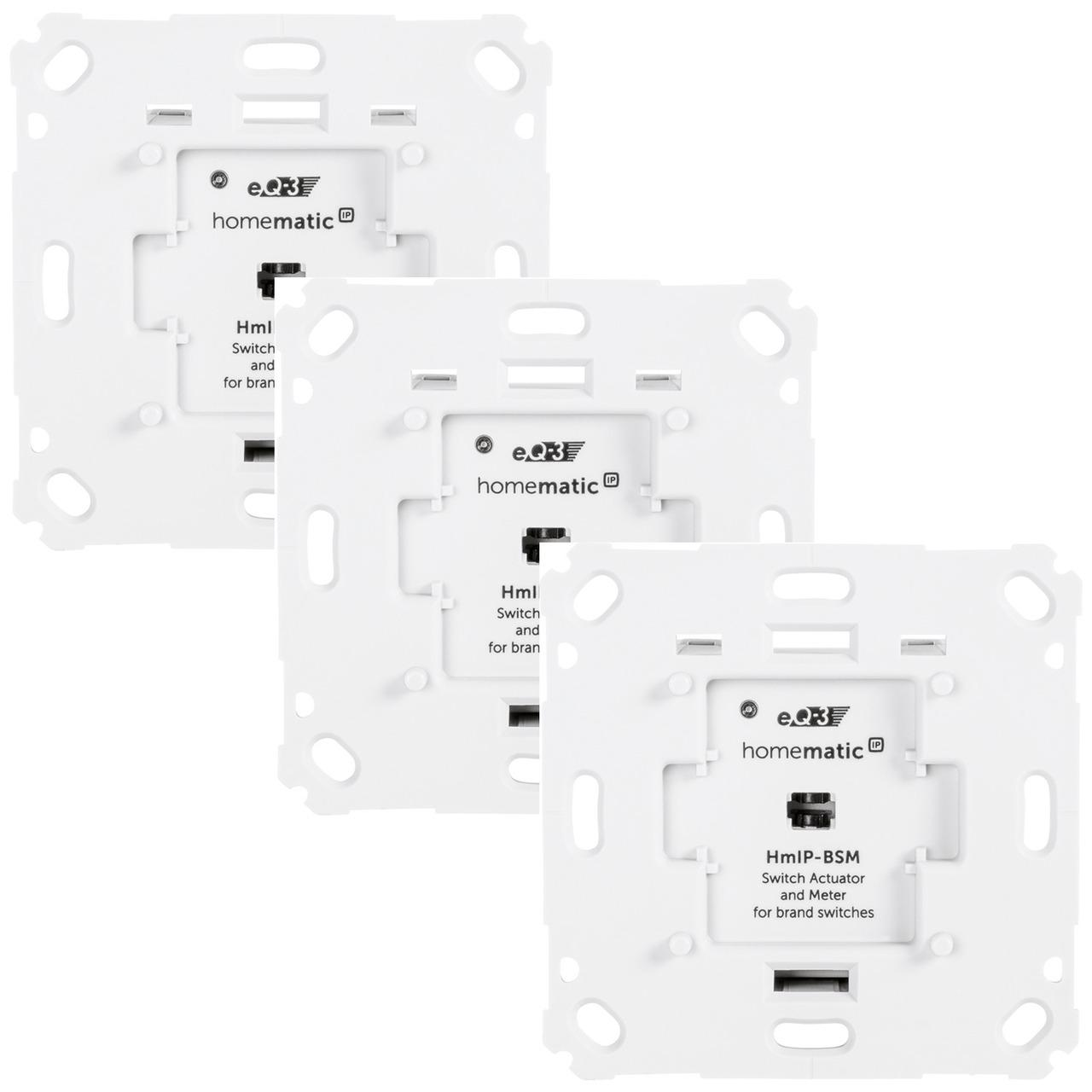 Homematic IP Smart Home 3er Set Homematic IP Schalt-Mess-Aktor HmIP-BSM für Markenschalter