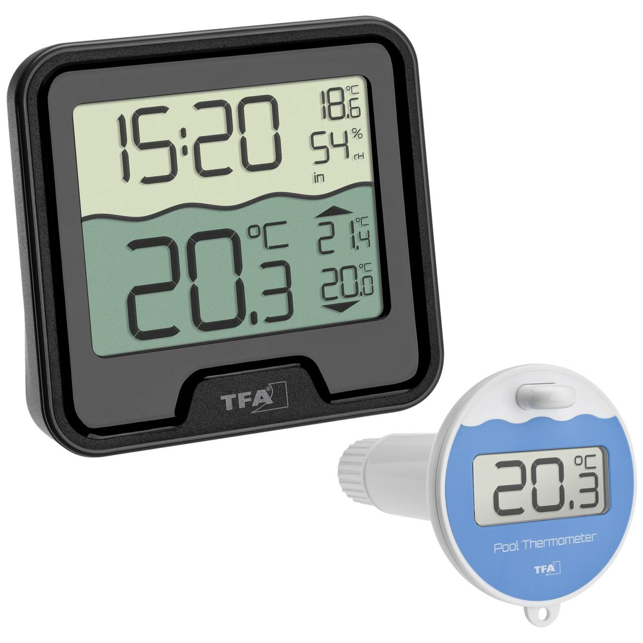 TFA Funk-Poolthermometer MARBELLA, Thermo-/Hygrometer-Basisstation, 868 MHz