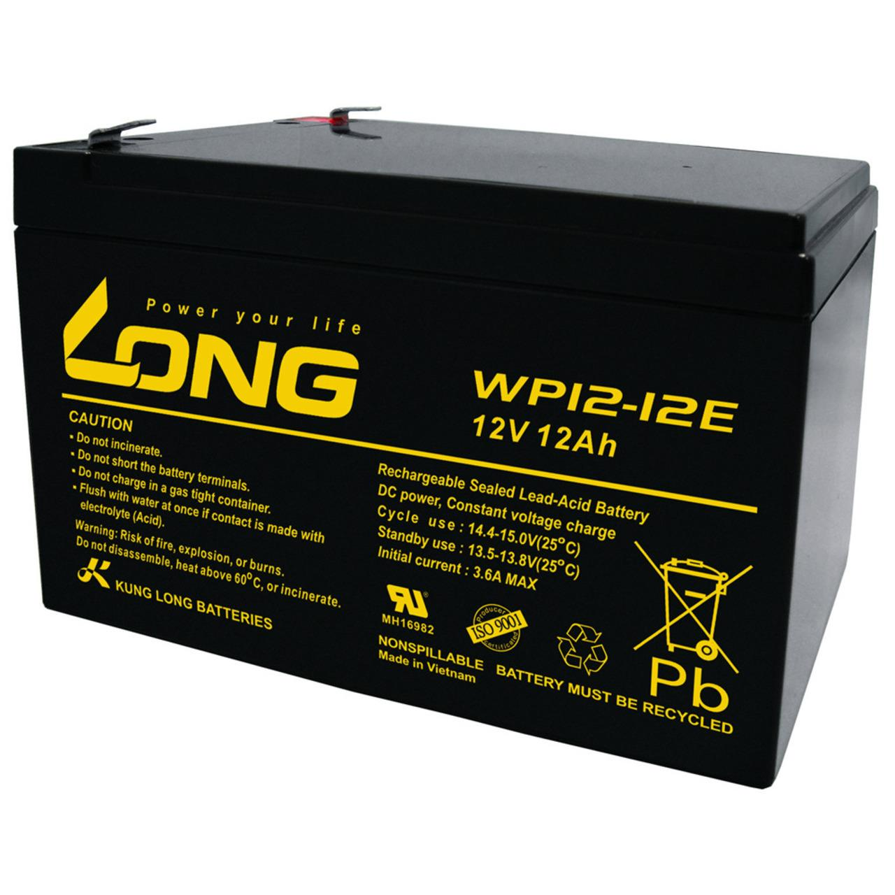 Kung Long Blei-Vlies-Akku WP12-12E, 12 V, 12 Ah, zyklenfest