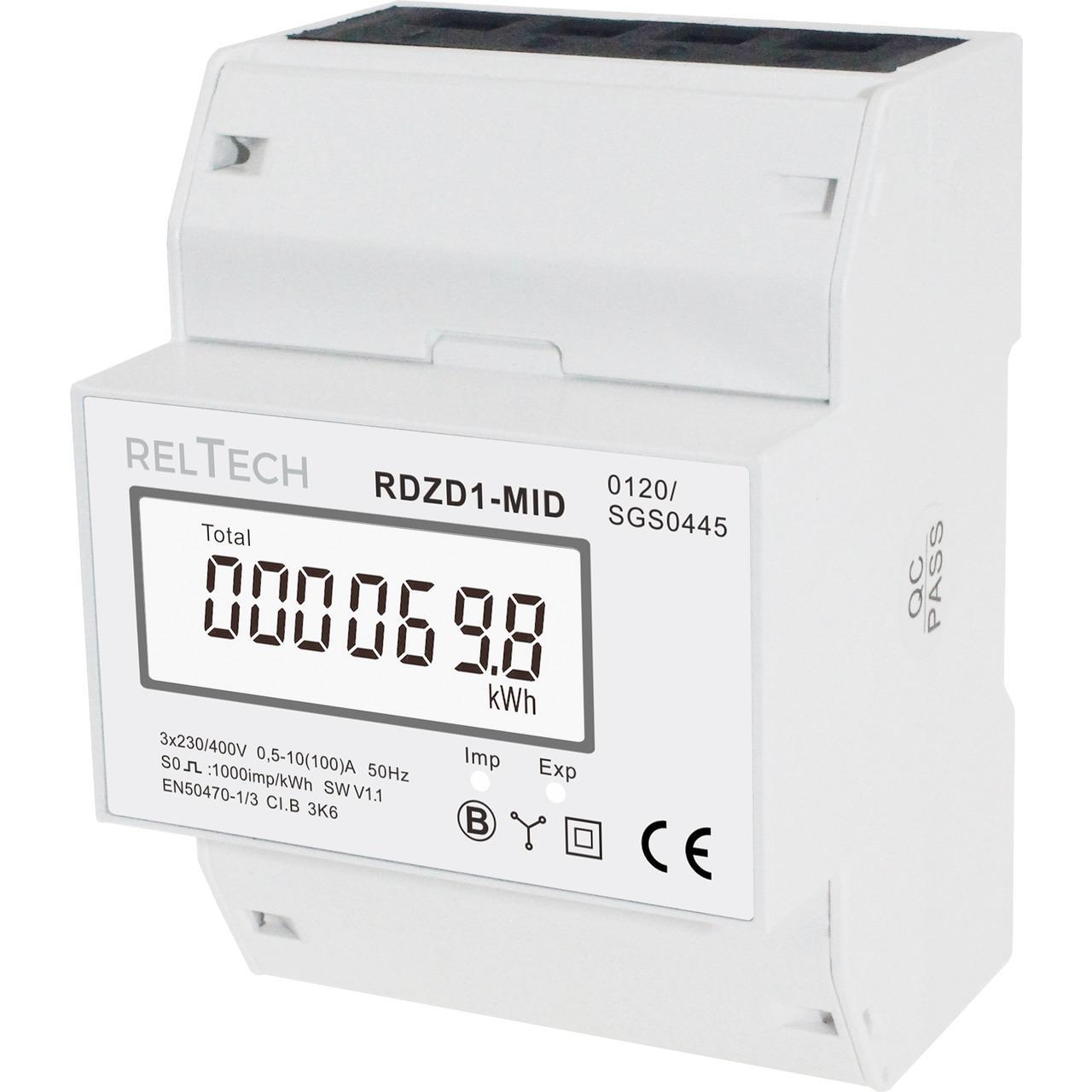 Reltech Drehstromzähler digital RDZD1-MID, 100 A, MID-geeicht, 4 TE