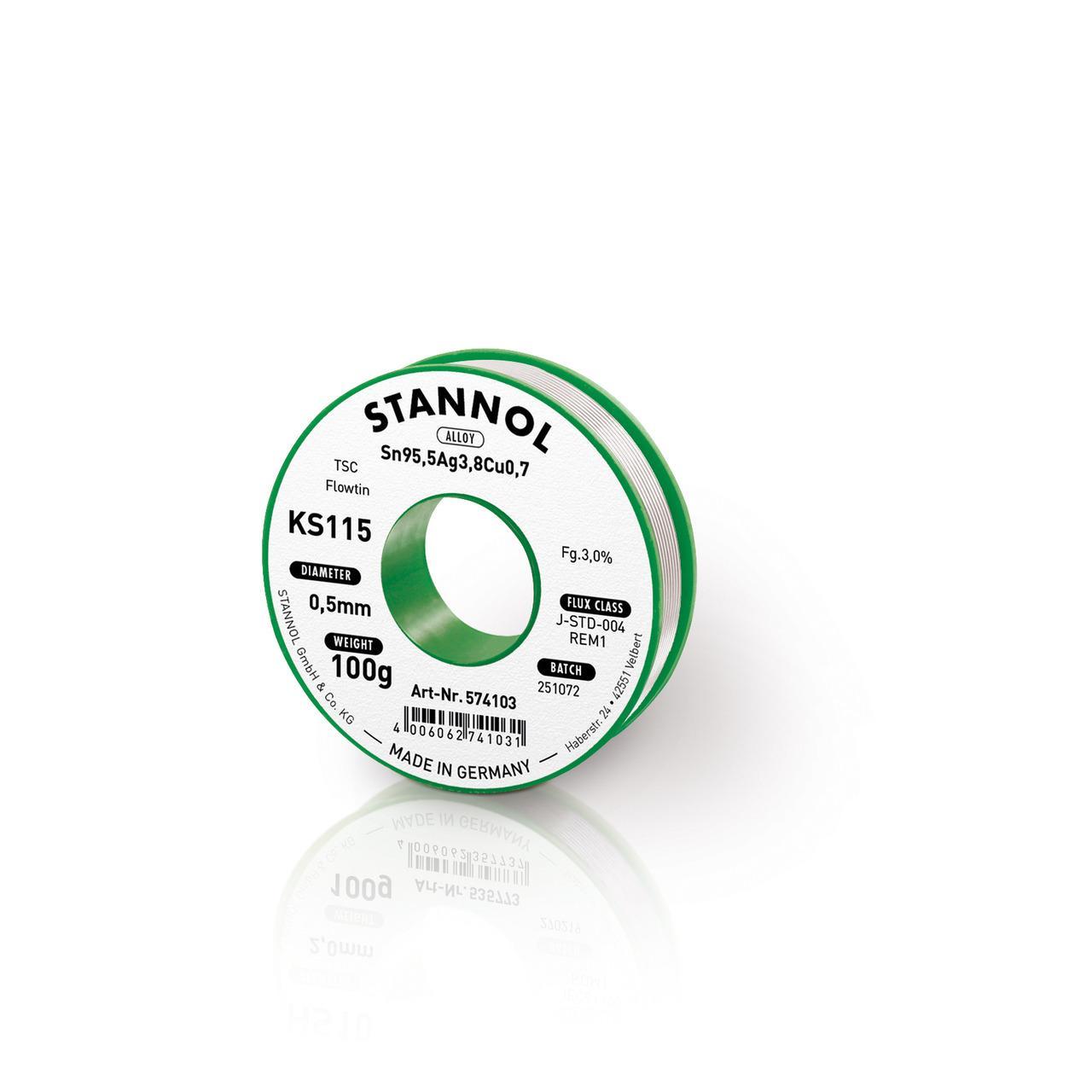 Stannol Flowtin KS 115 TSC Lötzinn 0,5mm, 100g-Spule