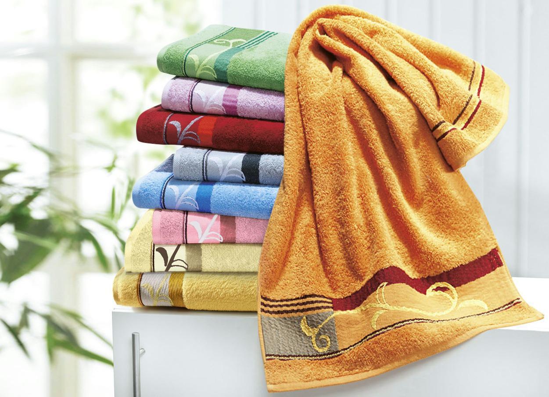 Handtücher mit edel bestickter Bordüre von Dyckhoff, Größe 202 (2 Gästehandtücher, 30/ 50 cm), Terra