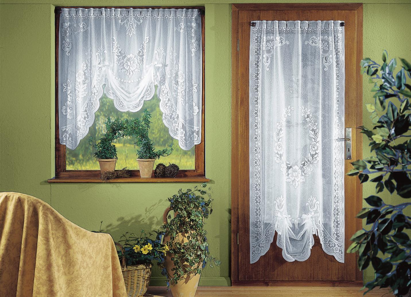 Fensterdekoration, Größe 170 (Tür-Store, H180xB 60 cm), Weiss