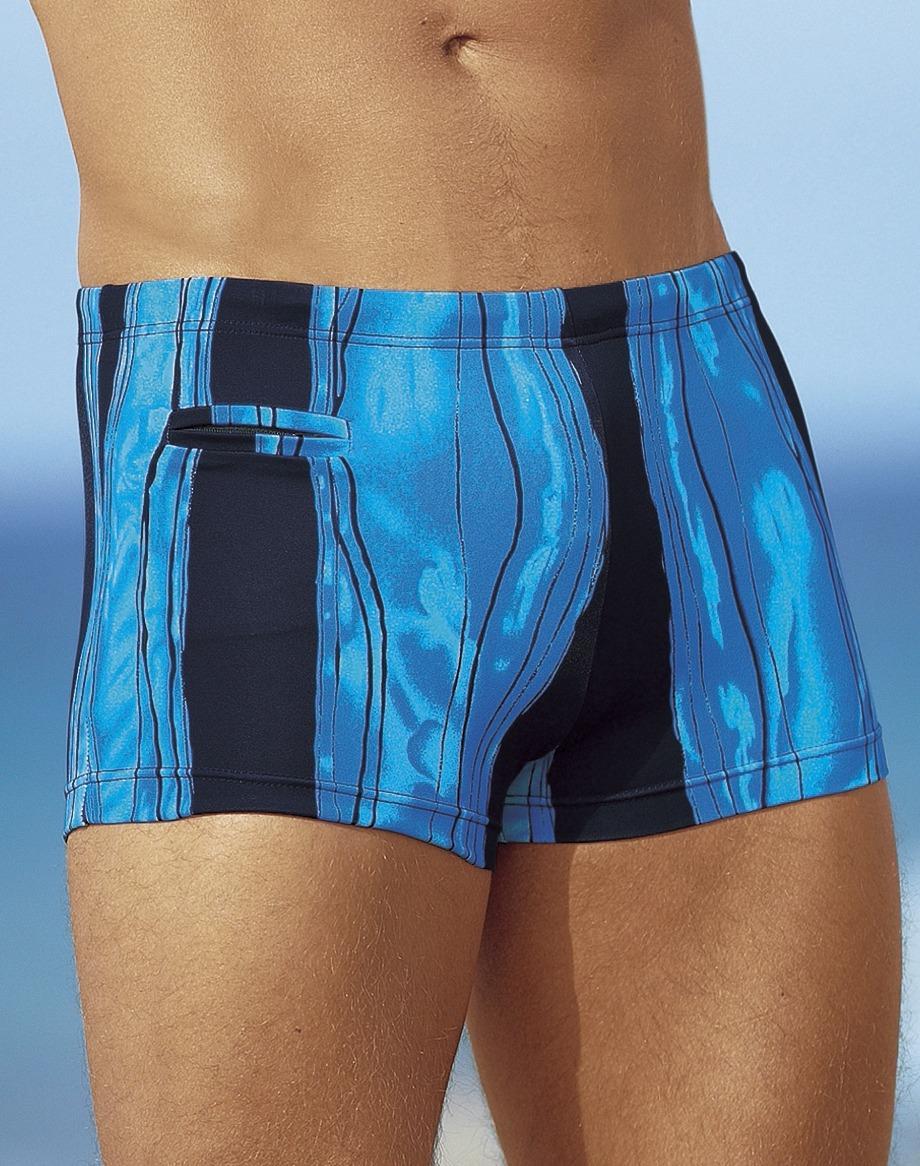 Badehose in Kastenform mit Reißverschlusstasche, Navy-Blau, Größe 5