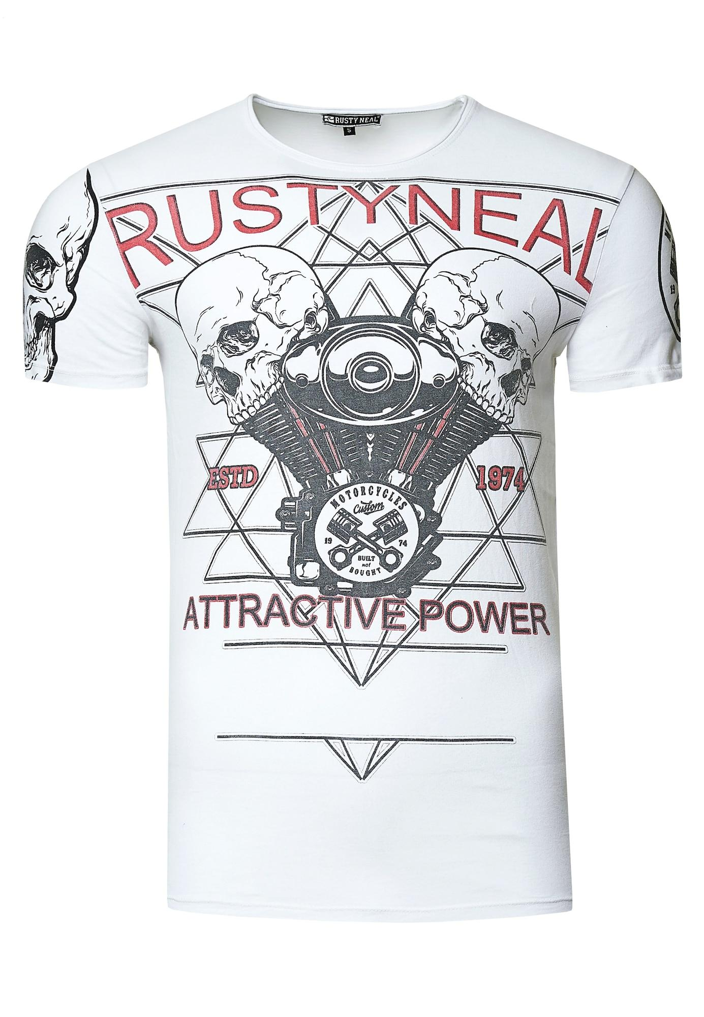 Rusty Neal Cooles T-Shirt mit Front-Print weiß