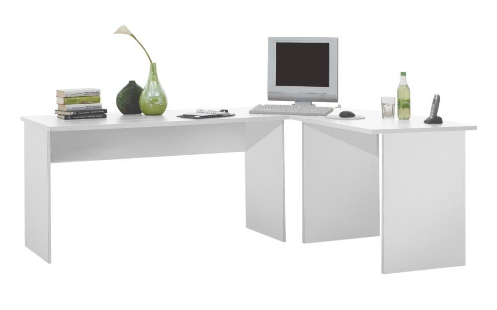 Winkel-Schreibtisch Till in weiß matt