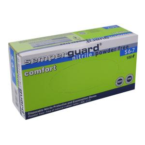 Semperguard® Einmalhandschuhe, Nitril, Comfort, puderfrei, Farbe: blau, 1 Packung = 100 Stück, Größe: S
