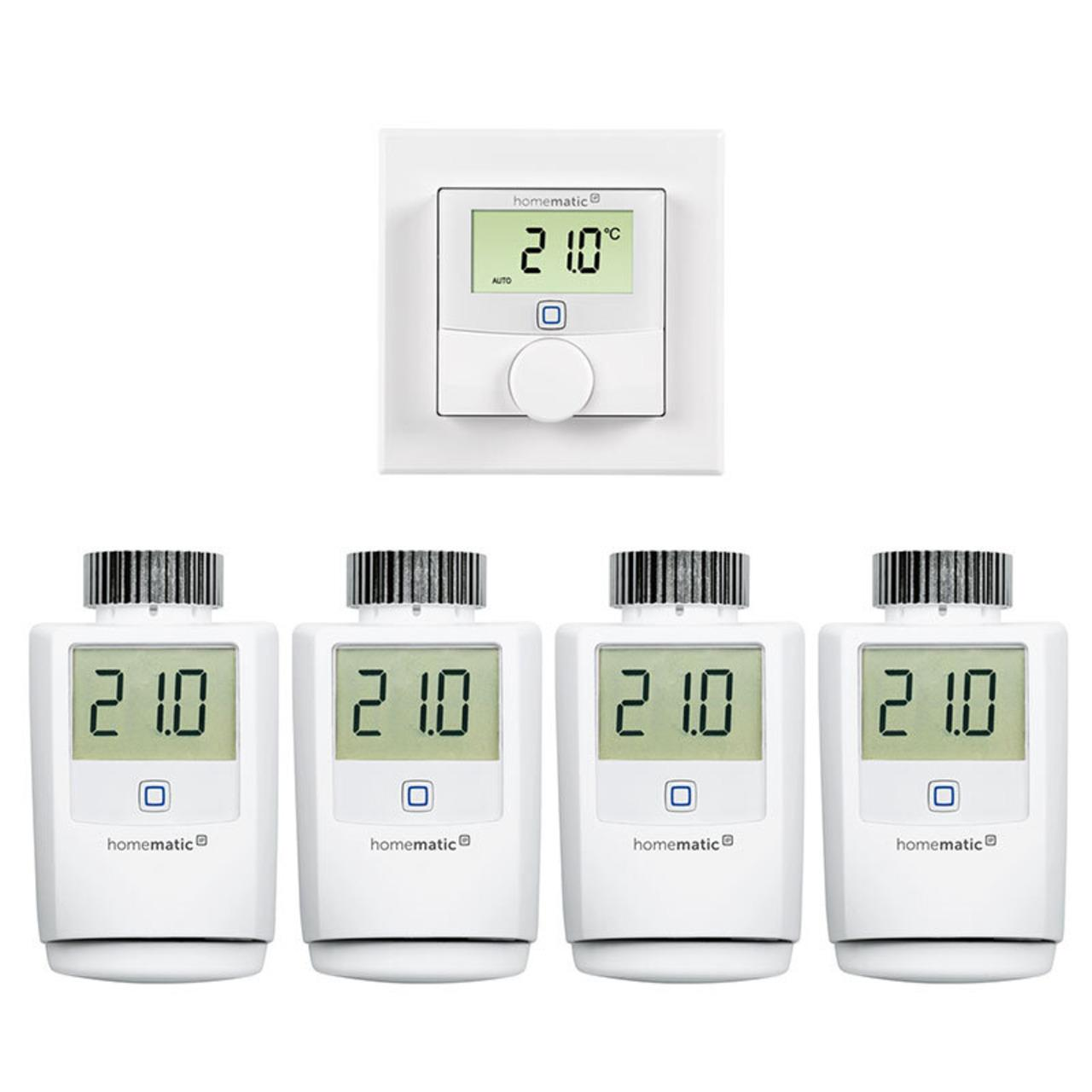 Homematic IP Smart Home Set Heizung mit 4x Heizkörperthermostat und 1x Wandthermostat