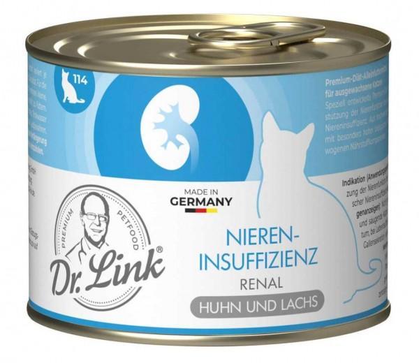 Dr. Link Katzenfutter Spezial-Diät Niereninsuffizienz, Renal Huhn und Lachs - 200 g