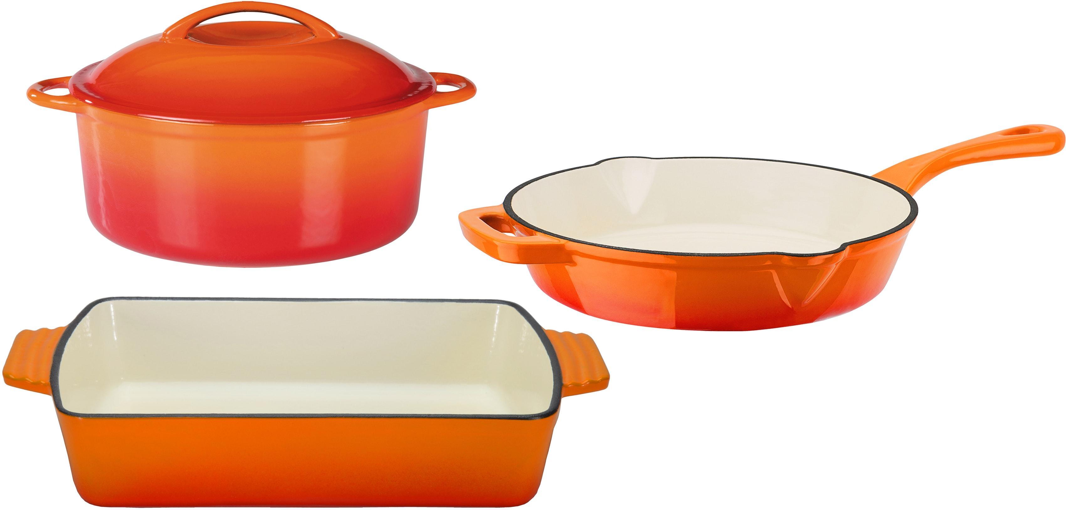 GSW Topf-Set Orange Shadow, Gusseisen, (Set, 4 tlg.), Induktion orange Topfsets Töpfe Haushaltswaren