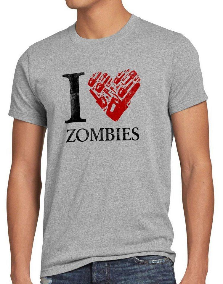 style3 Print-Shirt Herren T-Shirt Love Zombie walking kettensäge dead the halloween horror film axt, grau