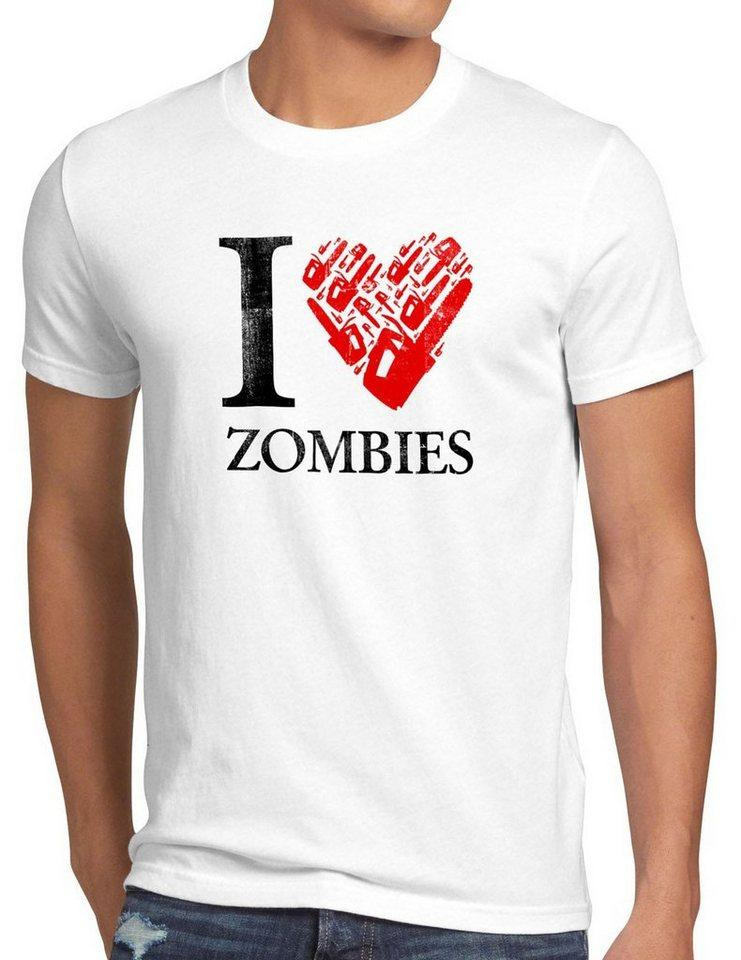 style3 Print-Shirt Herren T-Shirt Love Zombie walking kettensäge dead the halloween horror film axt, weiß