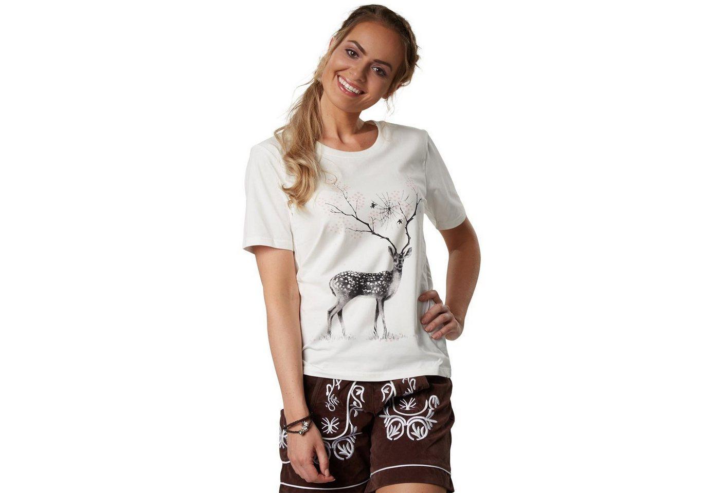 tectake T-Shirt »T-Shirt Blumenhirsch« (1-tlg)