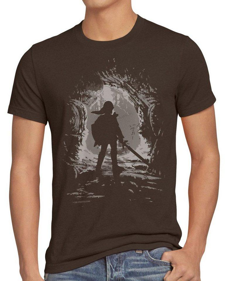 style3 Print-Shirt Herren T-Shirt Link Explorer boy hyrule gamer switch Hyrule game Wind Waker, braun