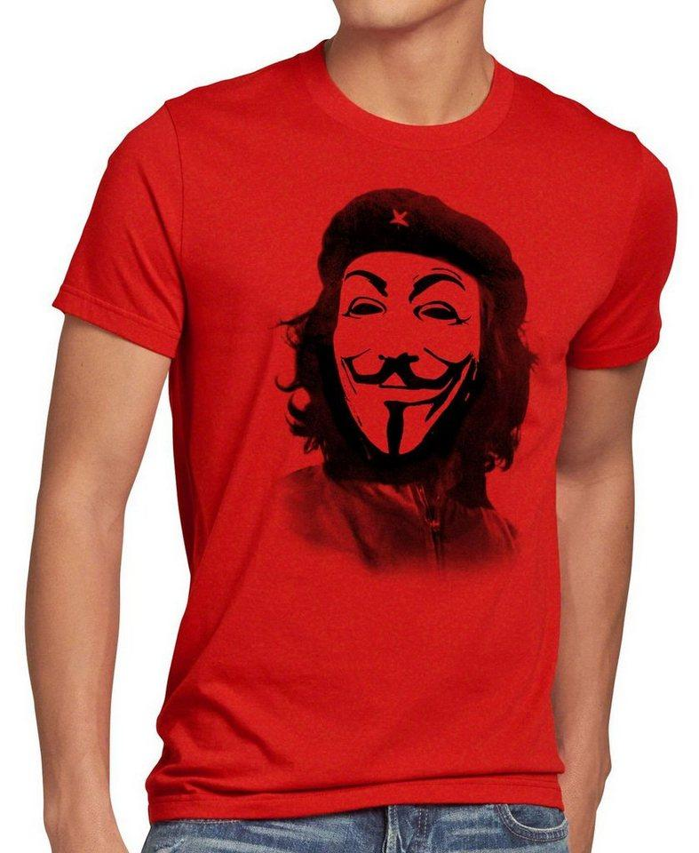 style3 Print-Shirt Herren T-Shirt Anonymous Che Guevara guy fawkes occupy maske guy fawkes hacker g8 kuba, rot