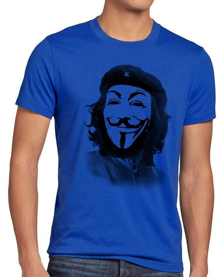 style3 Print-Shirt Herren T-Shirt Anonymous Che Guevara guy fawkes occupy maske guy fawkes hacker g8 kuba, blau