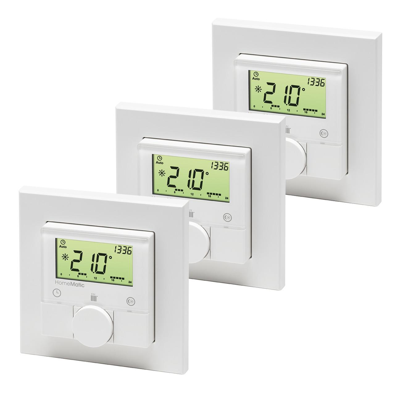 Homematic 3er-Set Funk-Wandthermostat HM-TC-IT-WM-W-EU für Smart Home / Hausautomation