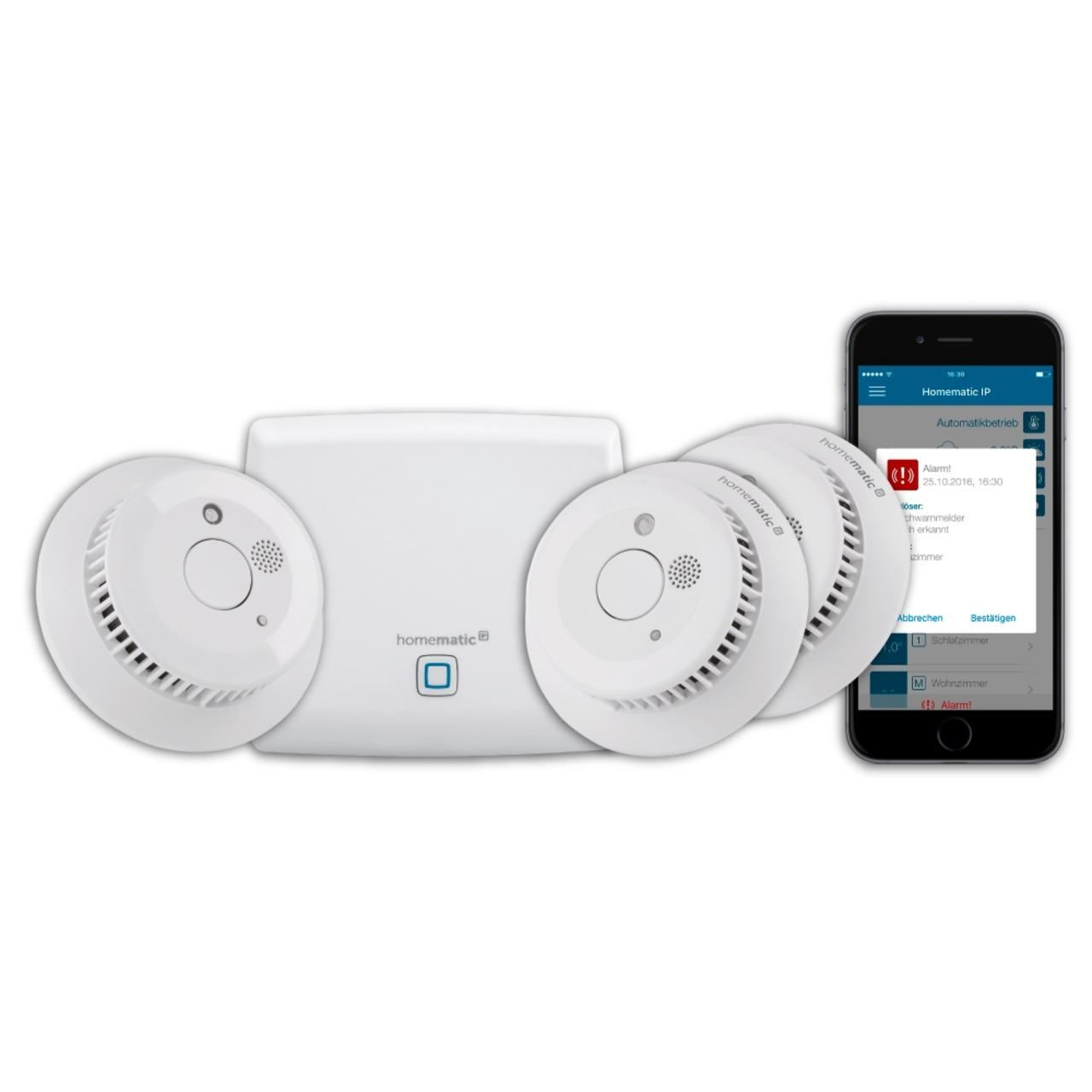 Homematic IP Smart Home Starter Set Rauchmelder mit Access Point und 3 Funk-Rauchmeldern