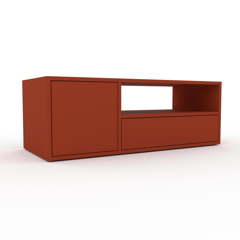 Bücherregal Terrakotta - Modernes Regal für Bücher: Schubladen in Terrakotta & Türen in Terrakotta - 116 x 41 x 47 cm,...