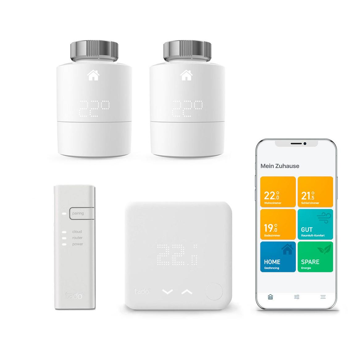 tado° Smartes Thermostat Starter Kit V3+ + 2 Thermostate