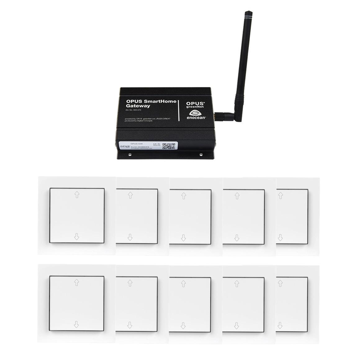 OPUS Komplettset Rollladen - 10x Rollladenschalter + Gateway