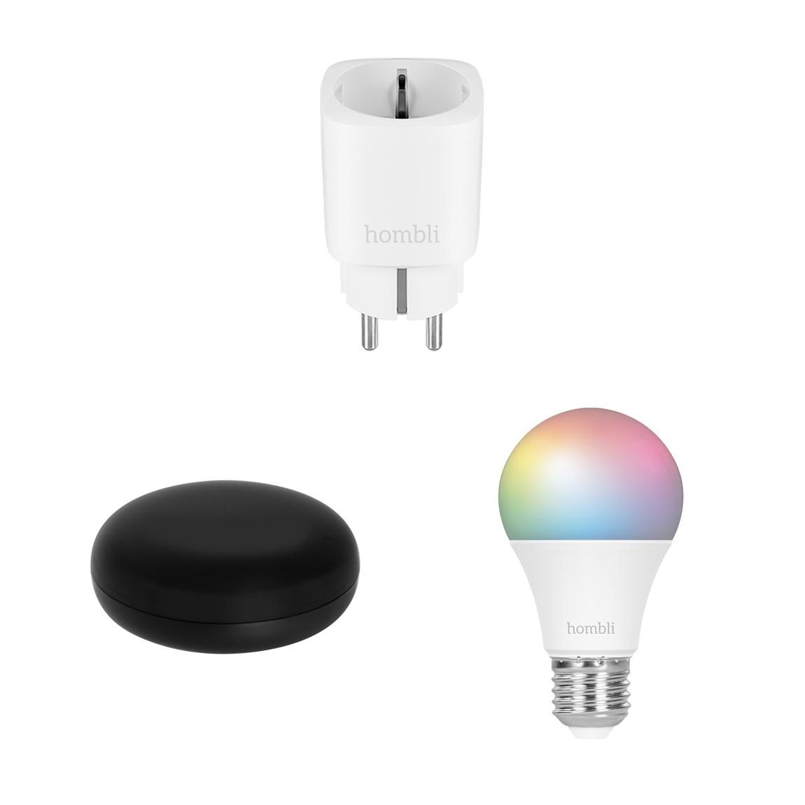Hombli Smart Steckdose + IR Remote Control + E27 Color-Lampe