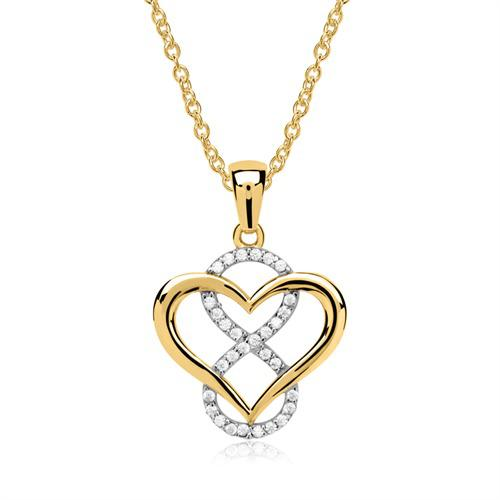 Kette Anhänger Herz Infinity 333er Gold