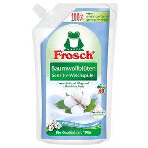 Frosch Sensitiv-Weichspüler, 1000 ml - Beutel, Textilerfrischer auf pflanzlicher Basis, Baumwollblüten