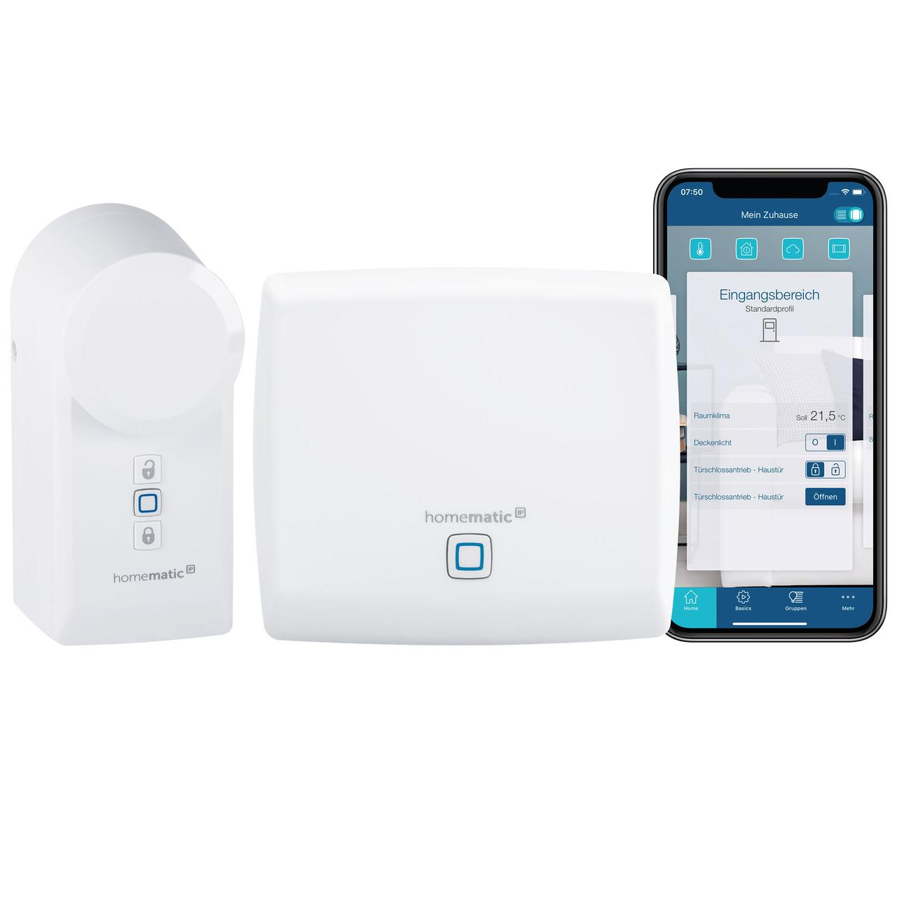 Homematic IP Smart Home Set Türschloss, Access Point + Türschlossantrieb