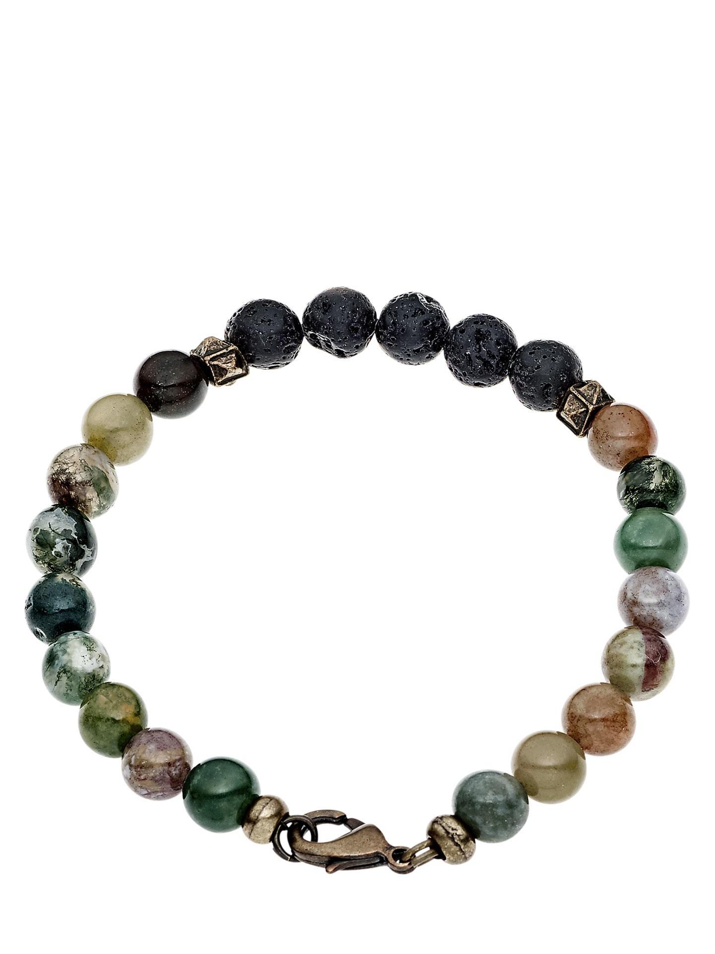 Herren Echtstein-Armband grün L, M