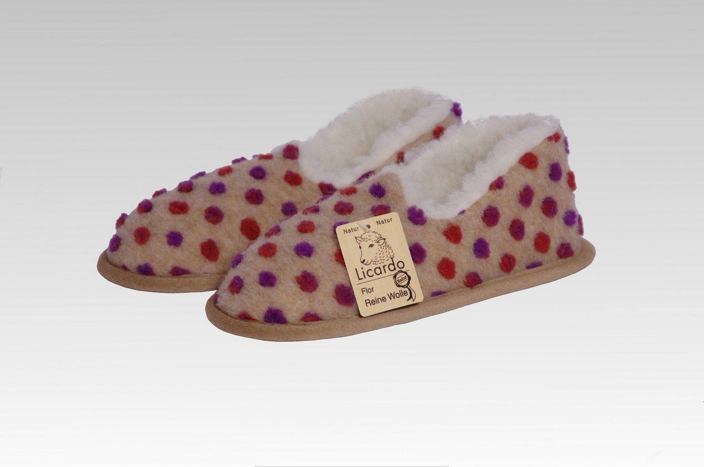 Licardo »Hausschuhe Mokassin Wolle Noppen beige« Hausschuh