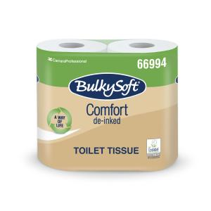 BulkySoft® Comfort Toilettenpapier, 2 lagig, Umweltfreundliches 100% recycling WC-Papier, 1 Karton = 10 x 4 = 40 Rollen