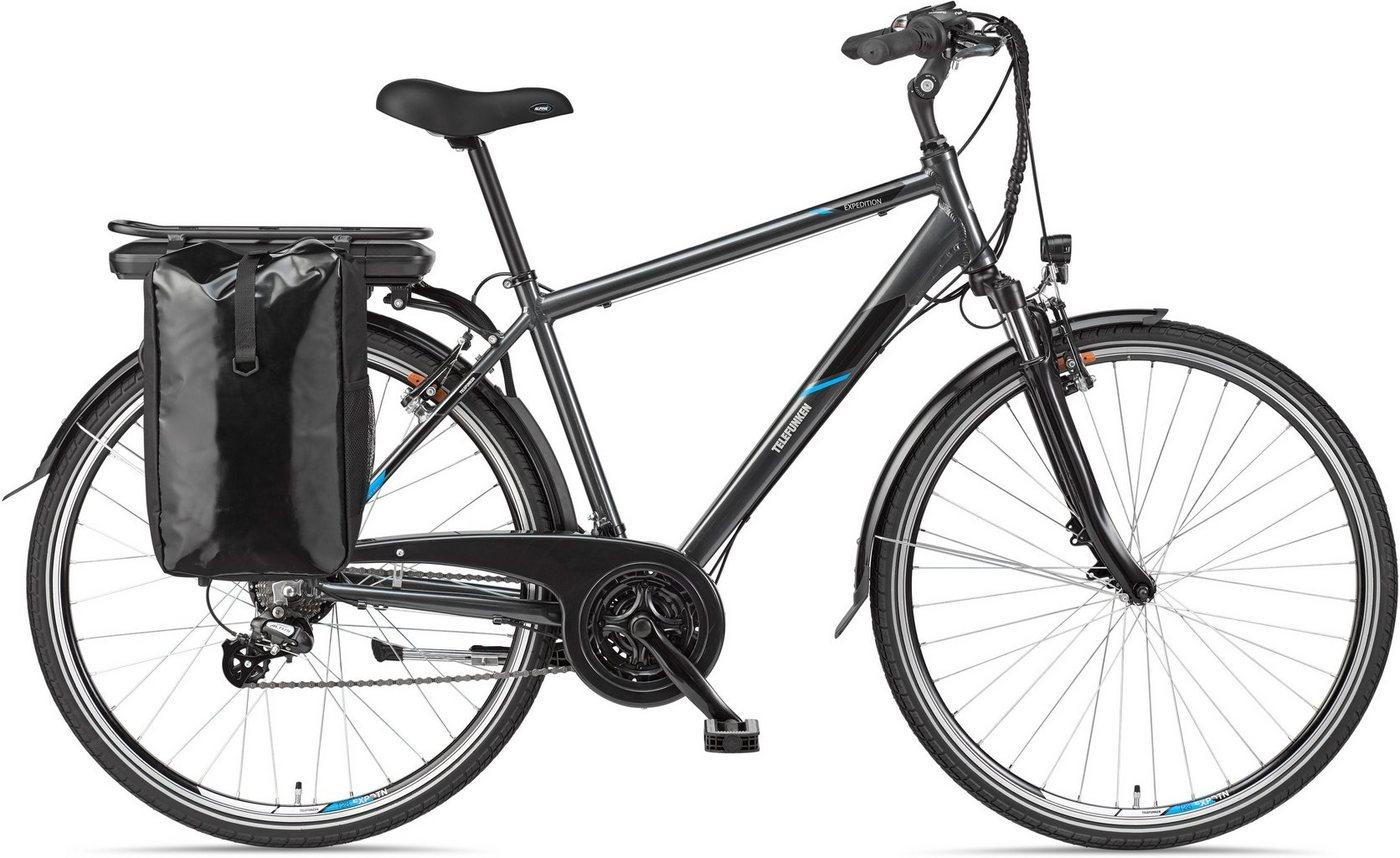 Telefunken E-Bike »Expedition XT481«, 21 Gang Shimano, Heckmotor 250 W, mit Fahrradtasche