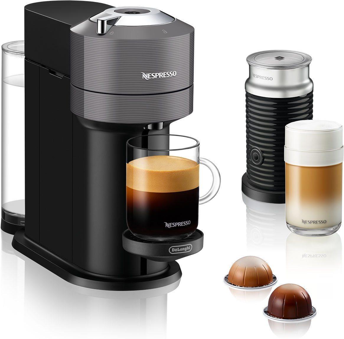 Nespresso Kapselmaschine ENV 120.GYAE Vertuo Next, inkl. Aeroccino Milchaufschäumer, grau