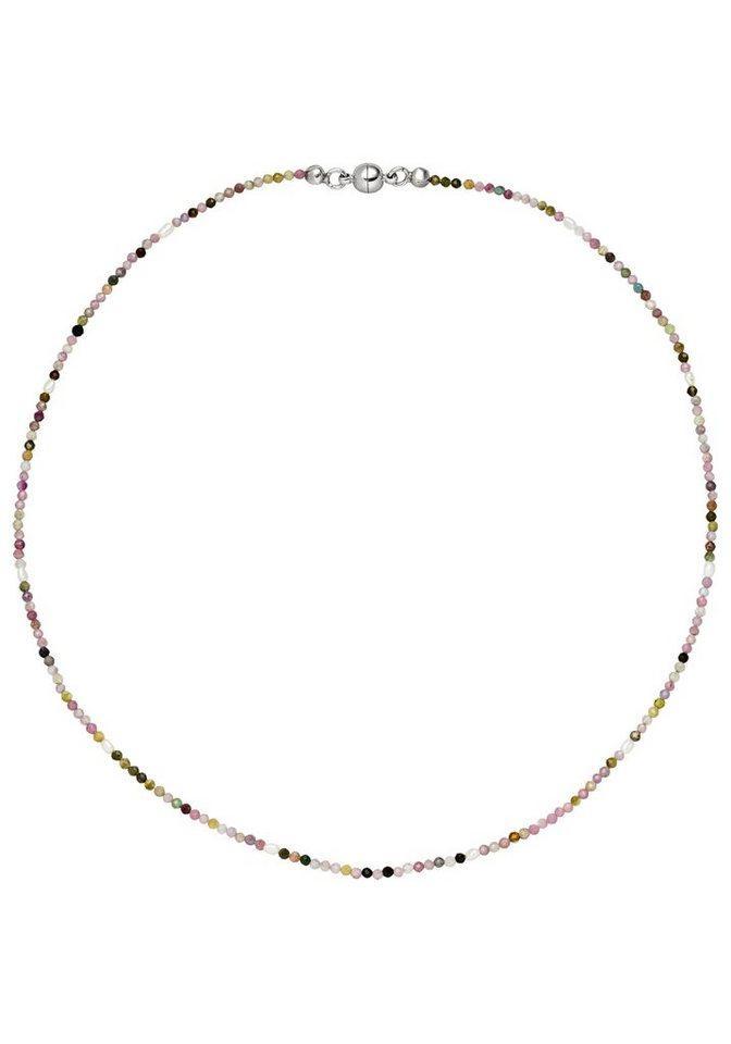 JOBO Kette ohne Anhänger, mit Perlen und Turmalin 46 cm