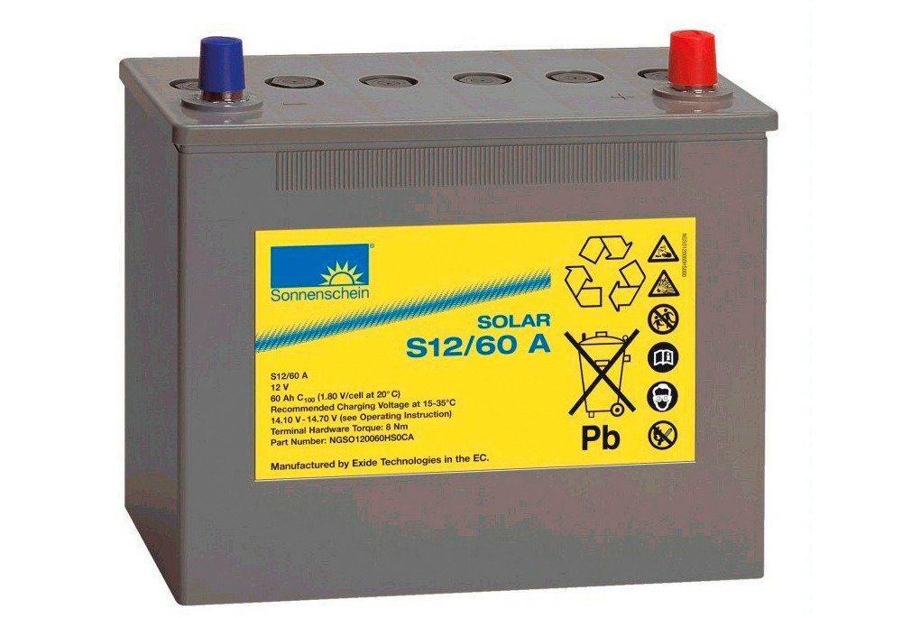 Sunset »Solar-Gel-Batterie 60 Ah« Solarakkus 60000 mAh (12 V), Zum Anschluss von Solarmodulen und Stromsets