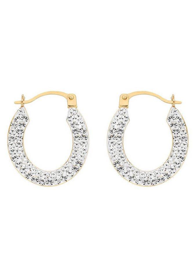 Firetti Paar Creolen »glitzernd, elegant, glanzvoll und edel«, mit Kristallen