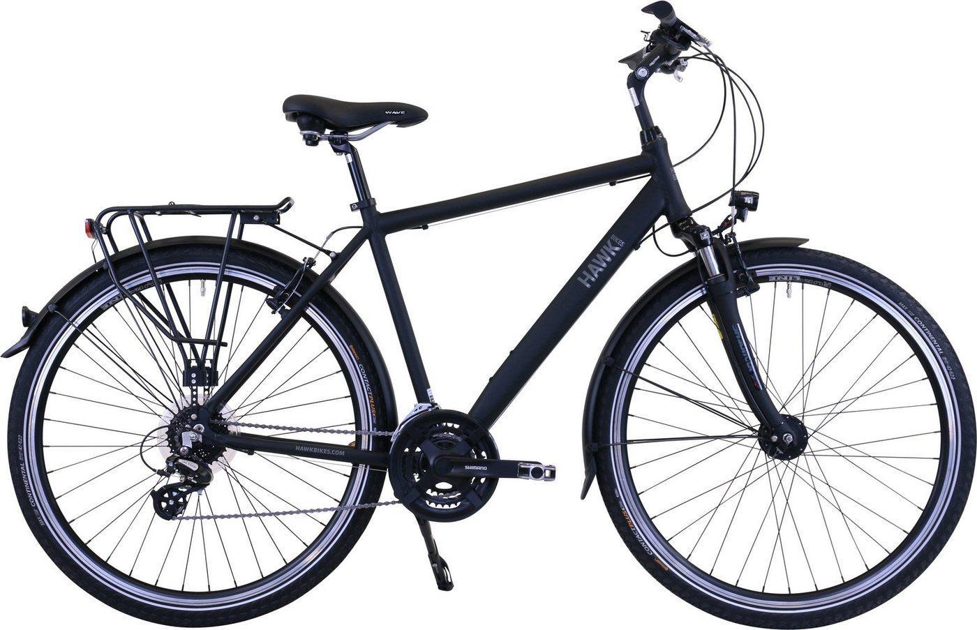 HAWK Bikes Trekkingrad »HAWK Trekking Gent Premium Black«, 24 Gang Shimano Altus Schaltwerk