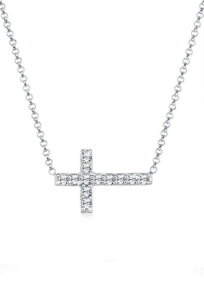 Elli Collier »Kreuz Symbol Kristalle 925 Silber«