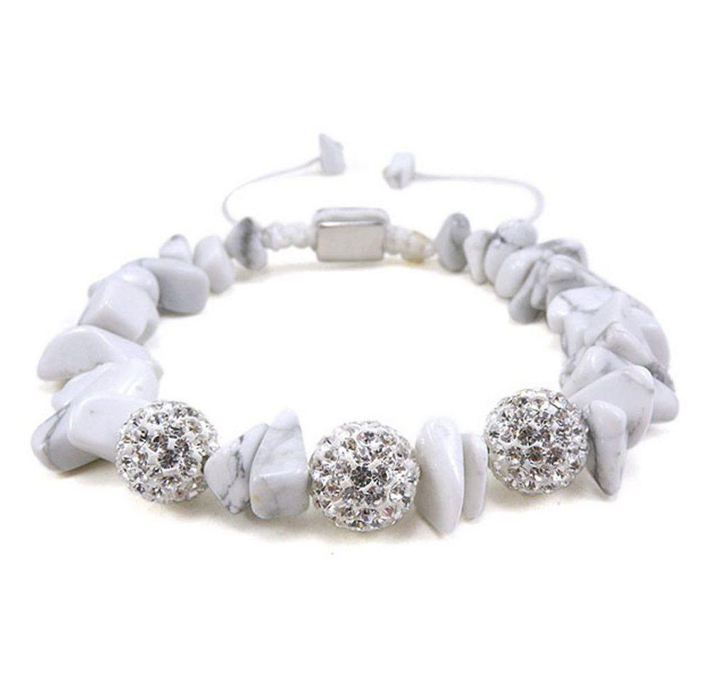 """Vivance Armband »""""Glamour Shamballa"""" Armband mit Kristallen und Steinen in Makrame eingeflochten«, mit Howlith und Zirkonia"""