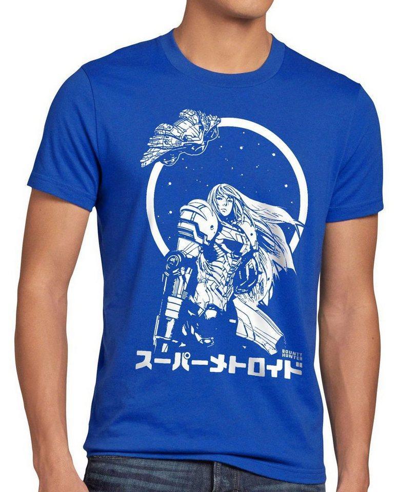 style3 Print-Shirt Herren T-Shirt Samus Return metroid nerd gamer nes snes geek, blau