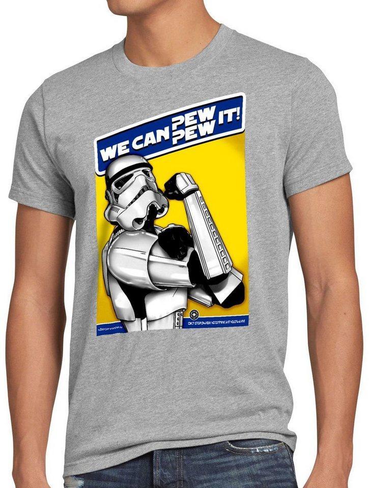 style3 Print-Shirt Herren T-Shirt Pew Pew It imperium sturmtruppen, grau