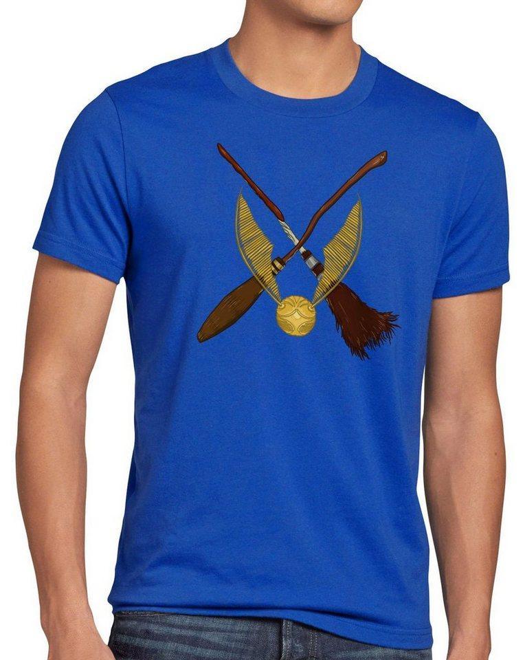 style3 Print-Shirt Herren T-Shirt Goldener Schnatz turnier sport besen quidditch, blau