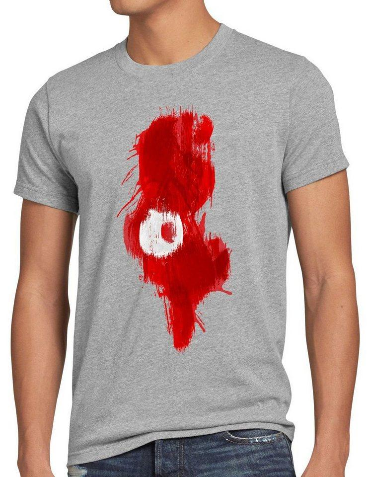 style3 Print-Shirt Herren T-Shirt Flagge Tunesien Fußball Sport Tunisia WM EM Fahne, grau